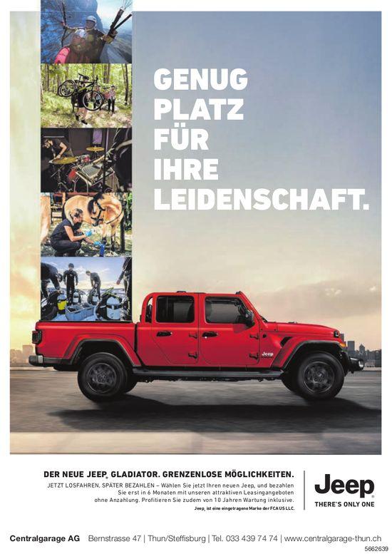 Centralgarage AG - Der neue Jeep Gladiator: Genug Platz für Ihre Leidenschaft.