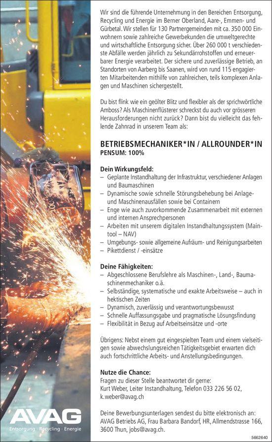 Betriebsmechaniker*in/Allrounder*in, AVAG Betriebs AG, Thun, gesucht