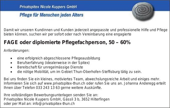 FAGE oder diplomierte Pflegefachperson, 50 – 60%, Privatspitex Nicole Kuypers GmbH, Hilterfingen, gesucht