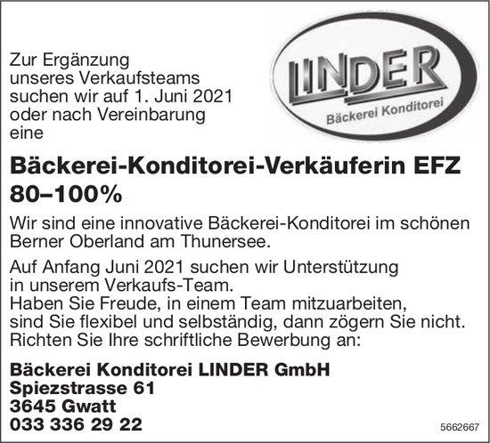 Bäckerei-Konditorei-Verkäuferin EFZ 80–100%, Bäckerei Konditorei LINDER GmbH, Gwatt, gesucht
