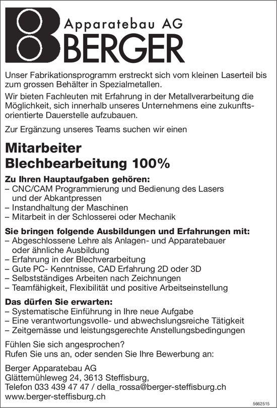 Mitarbeiter Blechbearbeitung 100%, Berger Apparatebau AG, Steffisburg, gesucht