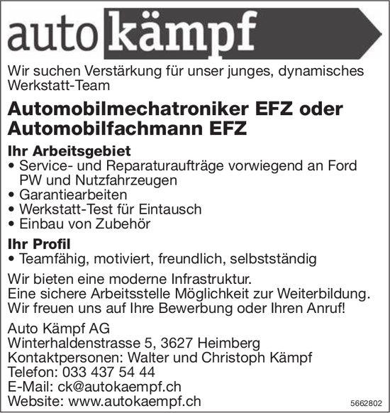 Automobilmechatroniker EFZ oder Automobilfachmann EFZ, Auto Kämpf AG, Heimberg, gesucht
