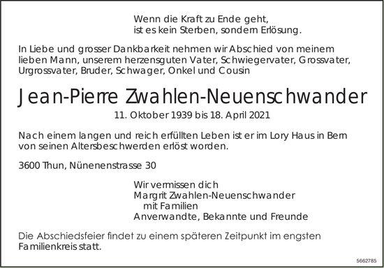Zwahlen-Neuenschwander Jean-Pierre, April 2021 / TA