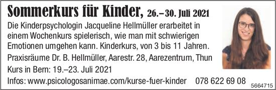 Sommerkurs für Kinder, 26.-30. Juli 2021, Jacqueline Hellmüller, Thun