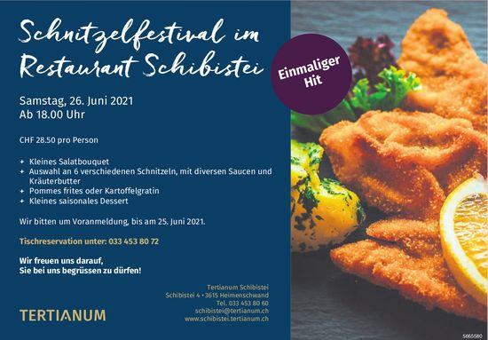 Schnitzelfestival im Restaurant Schibistei, 26. Juni, Heimenschwand