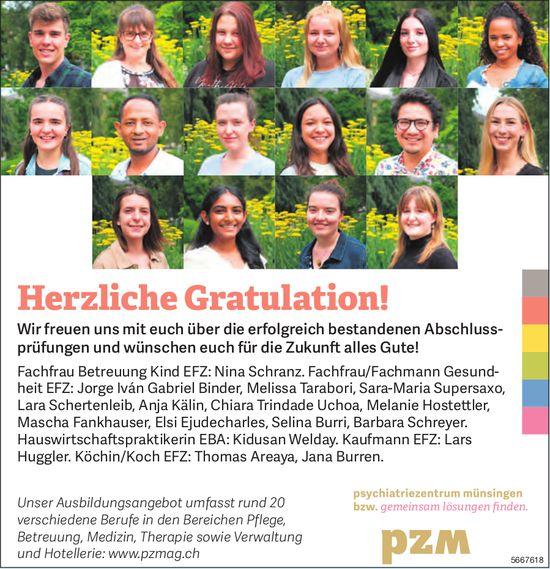 Psychiatriezentrum Münsingen - Herzliche Gratulation!