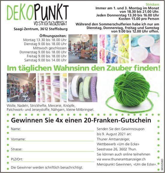 Dekopunkt, verstrickt & zugenäht, Steffisburg - Gewinnen Sie 4x einen 20-Franken-Gutschein