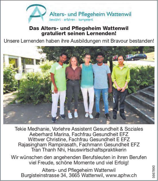 Das Alters- und Pflegeheim Wattenwil gratuliert seinen Lernenden!