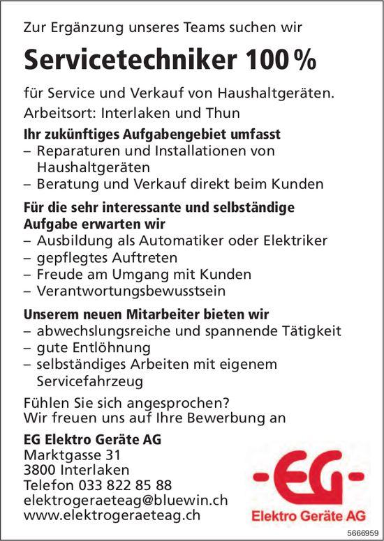 Servicetechniker 100%, EG Elektro Geräte AG, Interlaken und Thun, gesucht