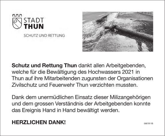 Stadt Thun - Schutz und Rettung Thun: Herzlichen Dank!