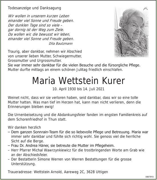 Wettstein Kurer Maria, im Juli 2021 / TA + DS