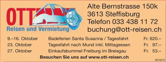 Ott Reisen - Programm & Events, 27. Oktober, Steffisburg