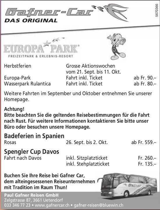 Programm & Events, Paul Gafner Reisen GmbH, Uetendorf