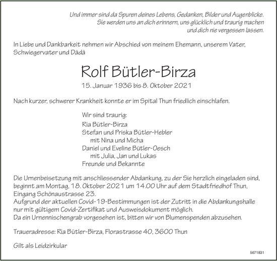 Bütler-Birza Rolf, Oktober 2021 / TA