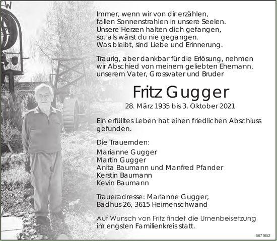 Gugger Fritz, Oktober 2021 / TA