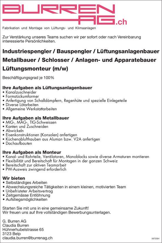 Industriespengler/Bauspengler/Lüftungsanlagenbauer/ Metallbauer/Schlosser/Anlagen- und Apparatebauer/ Lüftungsmonteur (m/w), G. Burren AG, Belp, gesucht