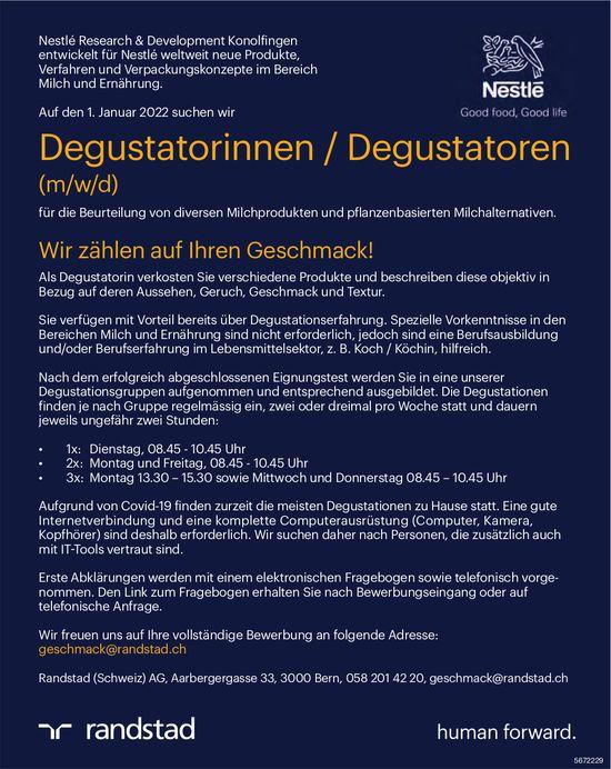 Degustatorinnen / Degustatoren (m/w/d), Randstad (Schweiz) AG, Bern, gesucht