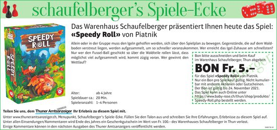 Schaufelberger, Thun - Das Warenhaus Schaufelberger präsentiert Ihnen heute das Spiel: «Speedy Roll» von Piatnik