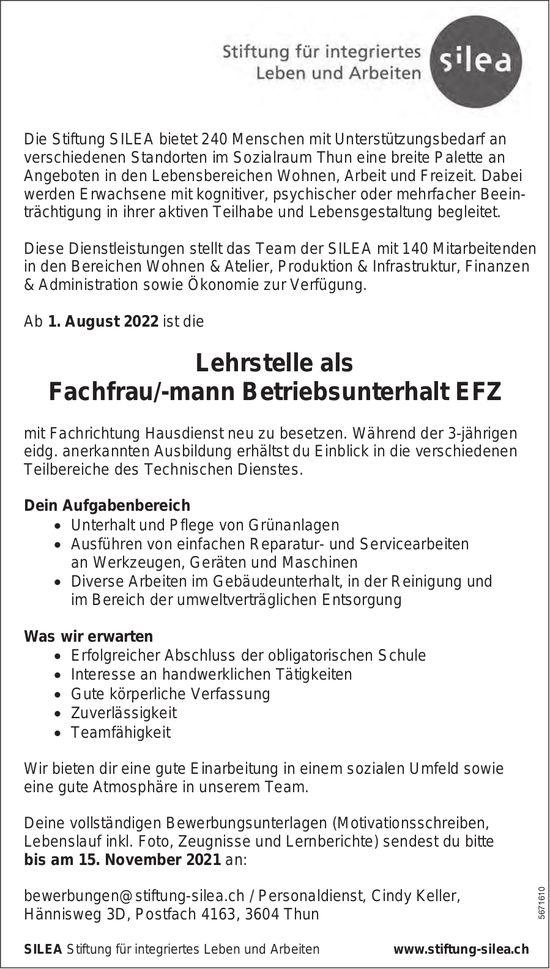 Lehrstelle als Fachfrau/-mann Betriebsunterhalt EFZ, Stiftung Silea, Thun, zu vergeben