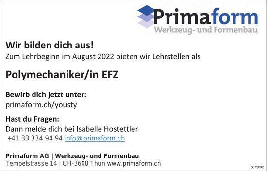 Polymechaniker/in EFZ, Primaform AG Werkzeug- und Formenbau, Thun, gesucht