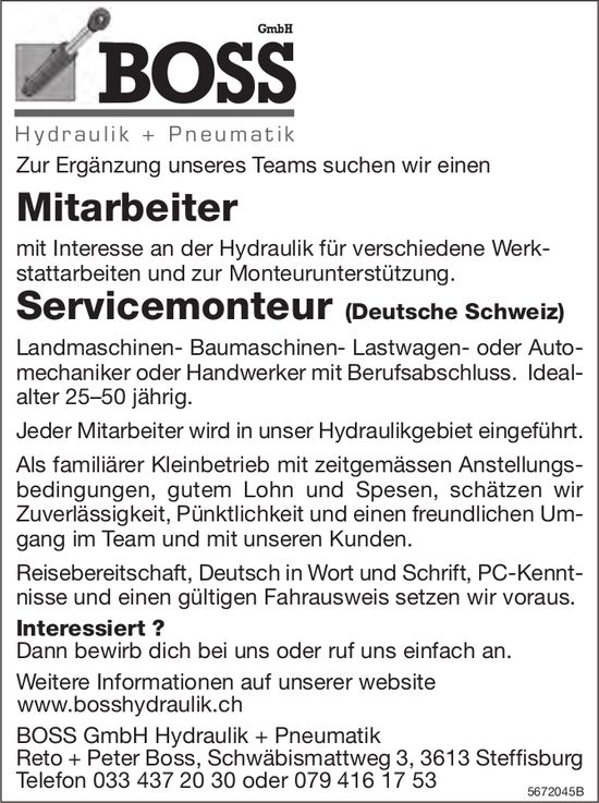 Servicemonteur (Deutsche Schweiz), BOSS GmbH Hydraulik+Pneumatik, Steffisburg, gesucht