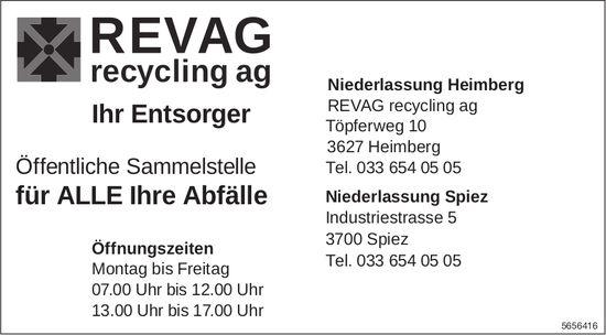 REVAG recycling ag, Heimberg - Ihr Entsorger für ALLE Ihre Abfälle
