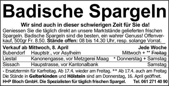Badische Spargeln, ab 8. April, Liestal,  Sissach, Bubendorf,