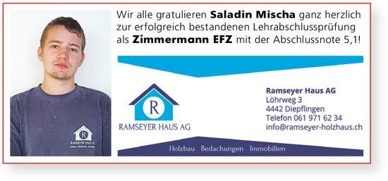 Ramseyer Haus AG, Diepflingen - Wir gratulieren Saladin Mischa zur erfolgreich bestandenen LAP