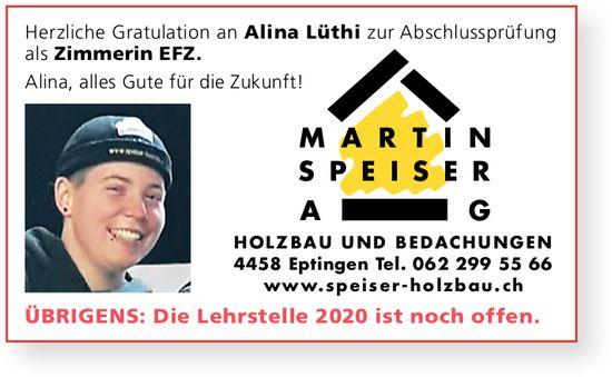 Martin Speiser AG, Eptingen - Herzliche Gratulation an Alina Lüthi zur LAP als Zimmerin EFZ