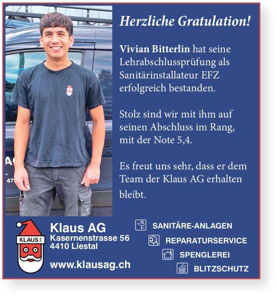 Klaus AG, Liestal - Herzliche Gratulation! Vivian Bitterlin hat die LAP erfolgreich bestanden