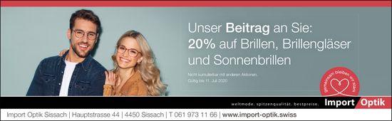 Import Optik, Sissach - 20 % auf Brillen,  Brillengläser und Sonnenbrillen