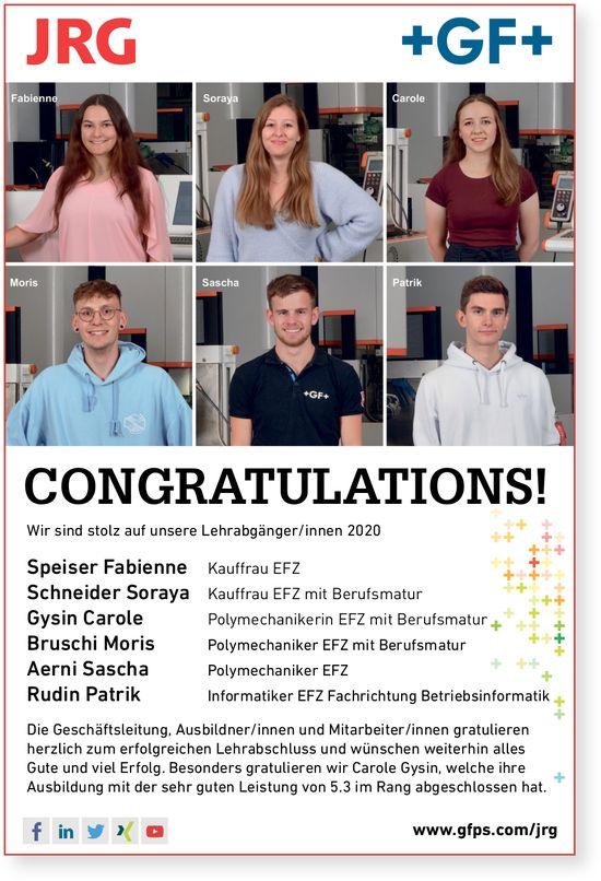 Herzliche Gratulation an Fabienne,  Soraya,  Carole,  Moris,  Sascha und Patrik zur bestandenen LAP