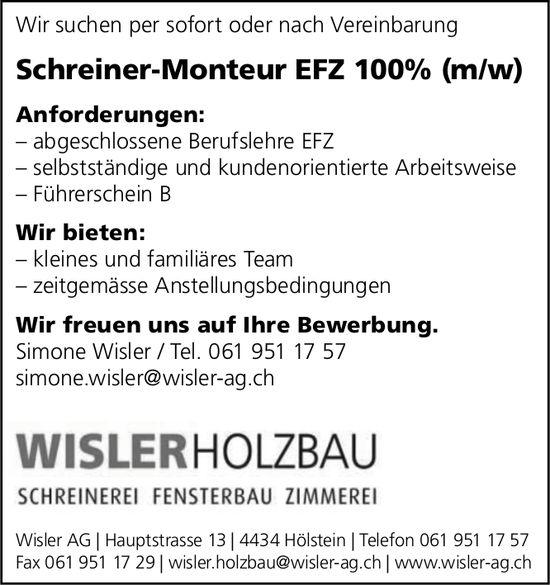 Schreiner-Monteur EFZ (m/w), Wisler Holzbau AG, Hölstein,  gesucht