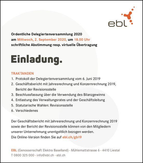 Delegiertenversammlung, 2. September, EBL, Liestal