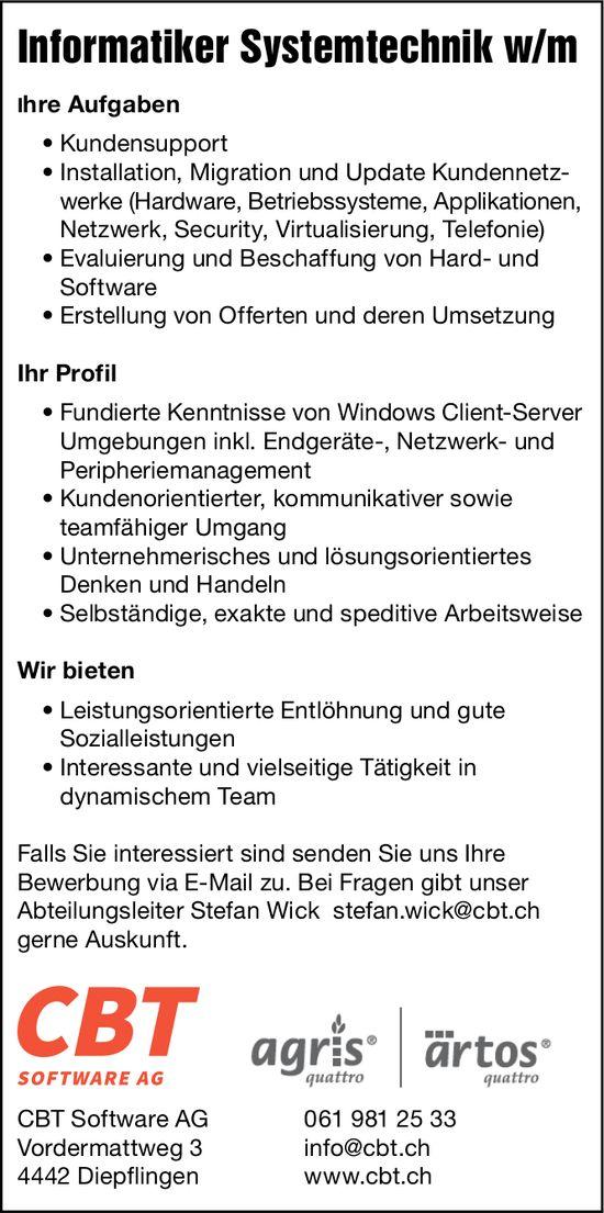 Informatiker Systemtechnik w/m, CBT Software AG, Diepflingen,  gesucht