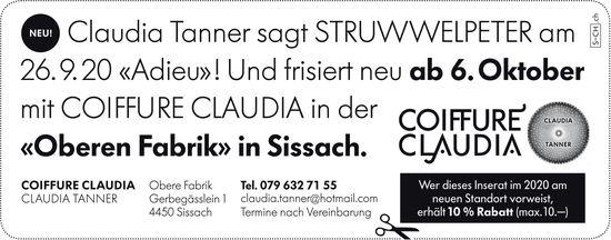 Struwwelpeter wird ab 6. Oktober Coiffure Claudia, Obere Fabrik, Sissach