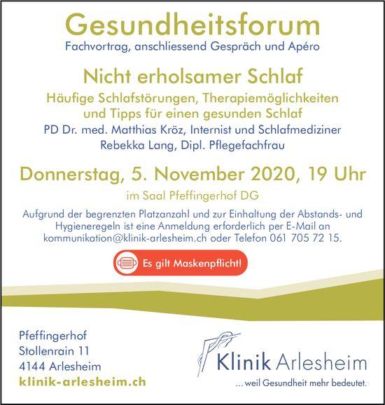 Gesundheitsforum, 5. November, Saal Pfeffingerhof DG
