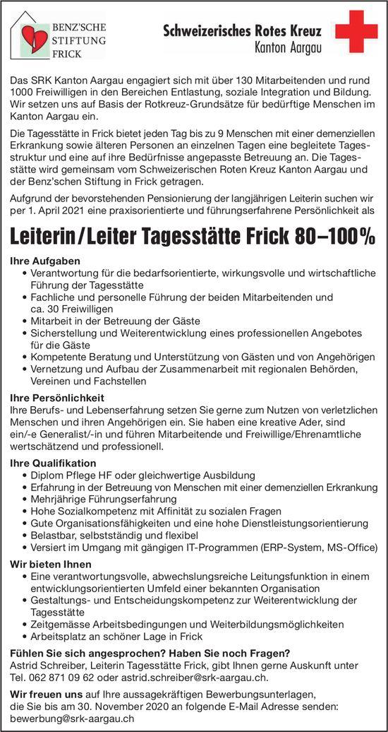 Leiterin / Leiter Tagesstätte Frick 80 –100%, Frick, gesucht