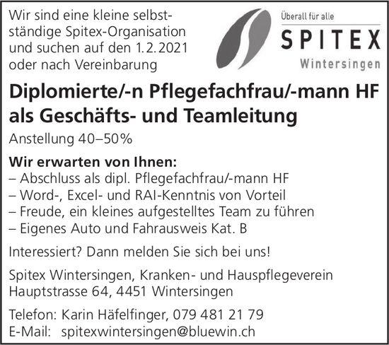 Diplomierte/-n Pflegefachfrau/-mann HF, Spitex, Wintersingen, gesucht