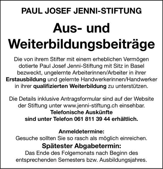 Paul Josef Jenni-Stiftung, Basel - Aus- und Weiterbildungsbeiträge
