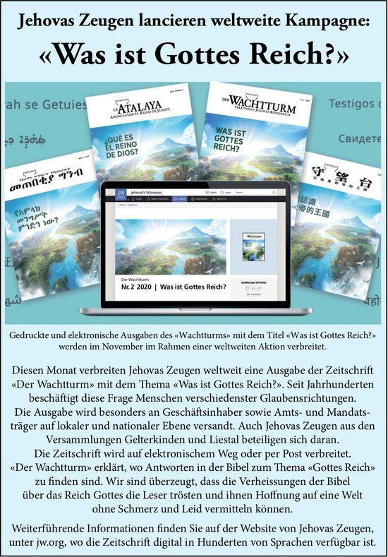 Jehovas Zeugen lancieren weltweite Kampagne: «Was ist Gottes Reich?»