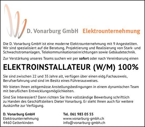 Elektroinstallateur (w/m) 100%, D. Vonarburg GmbH, Gelterkinden, gesucht