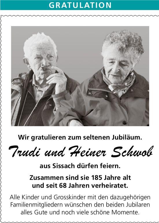 Herzliche Gratulation Trudi und Heiner Schwob
