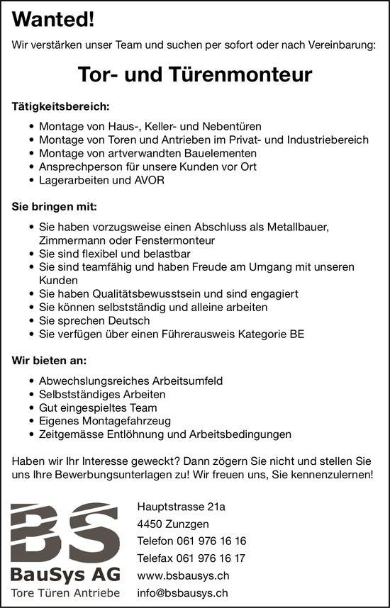 Tor- und Türenmonteur, BauSys AG, Zunzgen, gesucht