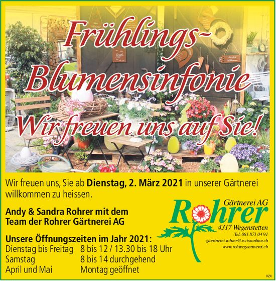 Rohrer Gärtnerei AG, Wegenstetten - Frühlings-Blumensinfonie