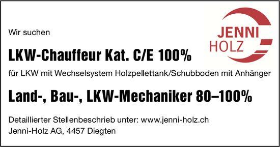 LKW-Chauffeur Kat. C/E 100% und Land-, Bau-,  LKW-Mechaniker 80–100%, Jenni-Holz AG, Diegten,  gesucht