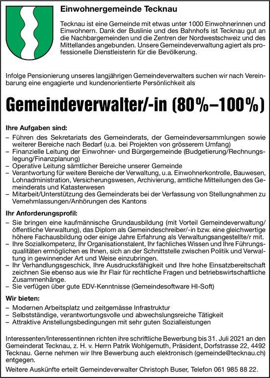 Gemeindeverwalter/-in (80%–100%), Tecknau, gesucht