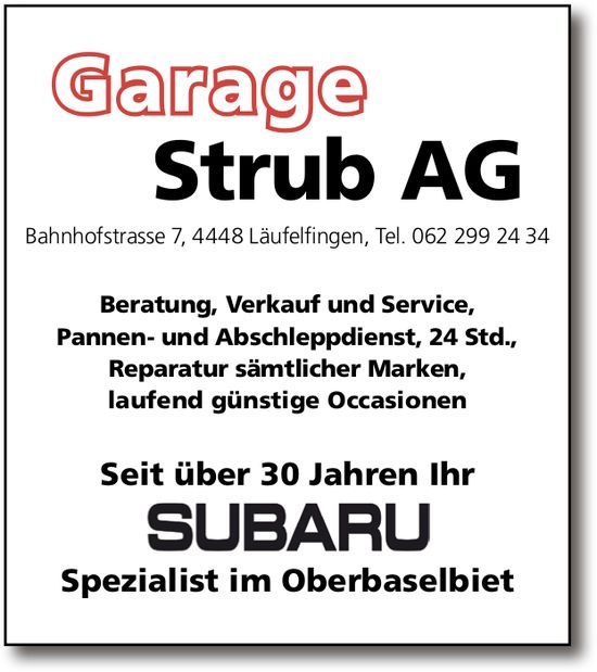 Garage Strub AG, Läufelfingen - Subaru