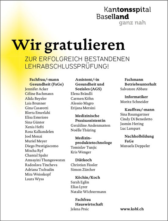 Kantonsspital Baselland, Wir gratulieren zur erfolgreich bestandenen LAP unseren Lernenden