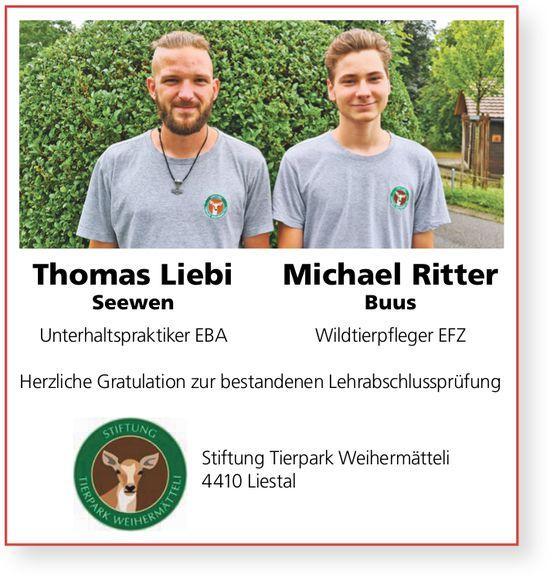 Stiftung Tierpark Weihermätteli, Liestal - Herzliche Gratulation zur bestandenen LAP, Thomas Liebi und Michael Ritter